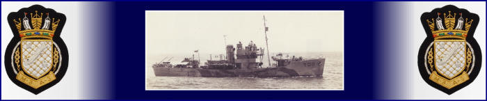 Image of HM Trawler Arran flanked by the RNPS blazer badge