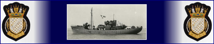 Image of Portugese class Admiralty trawler HMS Prong, flanked by the RNPS blazer badge